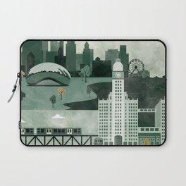 Chicago Travel Poster Illustration Laptop Sleeve