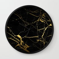 black and gold Wall Clocks featuring Black & Gold by Coconuts & Shrimps