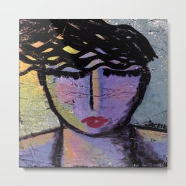 Deep in Thought Abstract Painting Metal Print