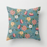 vintage floral Throw Pillows featuring Floral Vintage by Juliana Zimmermann