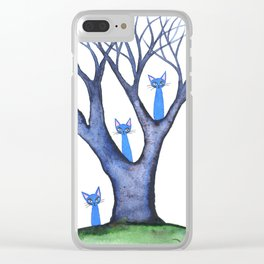 Waterloo Whimsical Cats in Tree Clear iPhone Case