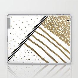 Geometrical white faux gold black stripes polka dots Laptop & iPad Skin