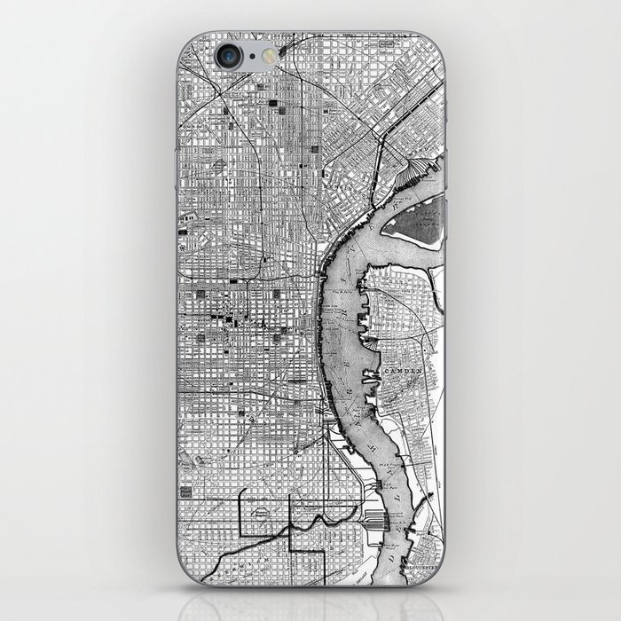 Vintage Map of Philadelphia PA (1895) BW iPhone Skin by bravuramedia