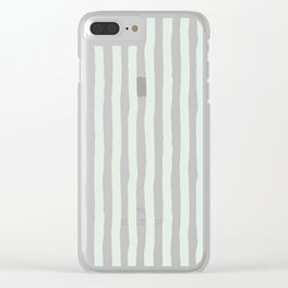 Vintage green white paint brushstrokes stripes Clear iPhone Case