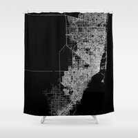 miami Shower Curtains featuring miami map by Line Line Lines