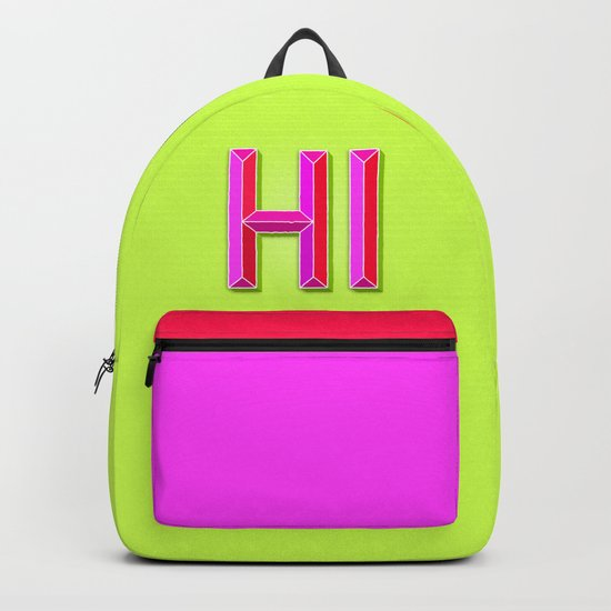 """HI"" 3D Letters (Lime Green Yellow Neon, Hot Pink) Backpack"