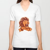 lions V-neck T-shirts featuring Lions Gryffindor by Fresco Umbiatore