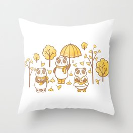 Pandas and ginkgo Throw Pillow