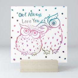 Owl Always Love You - Pink and Blue Mini Art Print