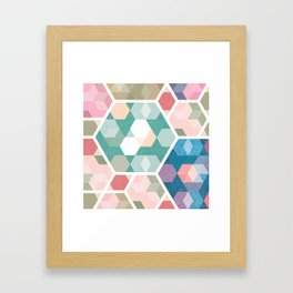 Pastel Hexagon Pattern Framed Art Print