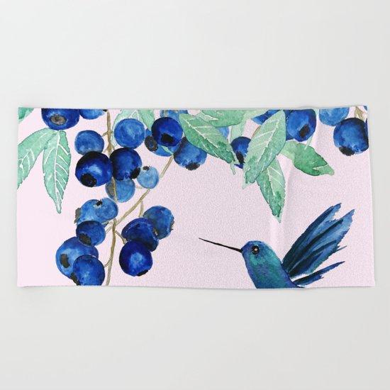 blueberry and humming bird Beach Towel
