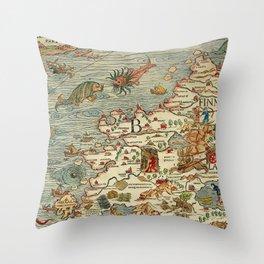 Medieval Map Scandinavia 1539 Throw Pillow