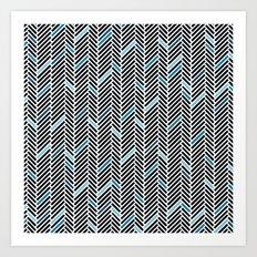 Herringbone Black and Blue Art Print