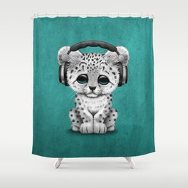 Cute Snow leopard Cub Dj Wearing Headphones on Blue Shower Curtain