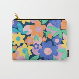 Spring Mod Flowers Pattern Carry-All Pouch