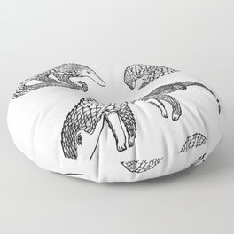 Animal Pattern, Pangolin, Manis, Monochrome Art, Black and white, Animals lovers gifts, Vets and pet Floor Pillow