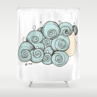 emma watson Shower Curtains featuring Emma by laura mendoza v.