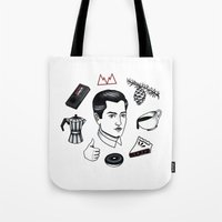 dale cooper Tote Bags featuring dale cooper collage by Bunny Miele