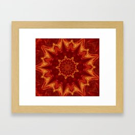 Red Supernova - Abstract Kaleidoscope Art by Fluid Nature Framed Art Print