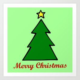 Merry Christmas, Christmas Tree Art Print