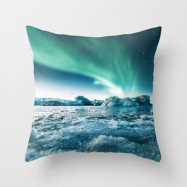 aurora borealis at jakursarlon Throw Pillow