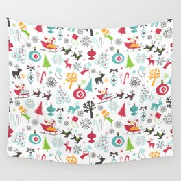 Retro Santa Holiday Christmas Pattern Wall Tapestry