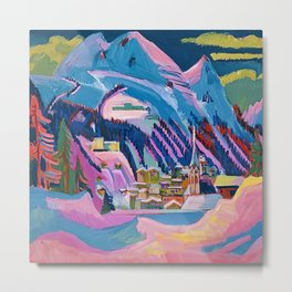 Davos, Swiss Alps in Winter Mountain Landscape by Ernst Ludwig Kirchner Metal Print