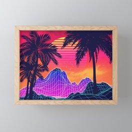 Neon glowing grid rocks and palm trees, futuristic landscape design Framed Mini Art Print