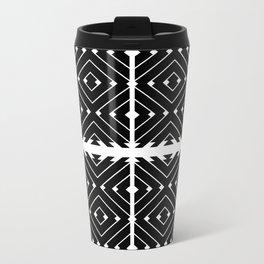 MONOCHROMA Geometrica : Black & White Box Pattern Metal Travel Mug