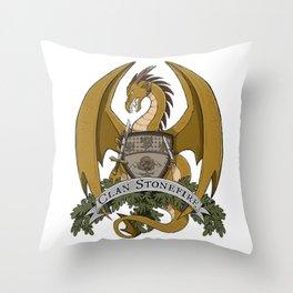 Clan Stonefire Crest - Gold Dragon Throw Pillow