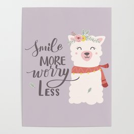 SMILE MORE, WORRY LESS! - Sweet lavender quote Poster