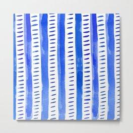 Watercolor lines - blue Metal Print