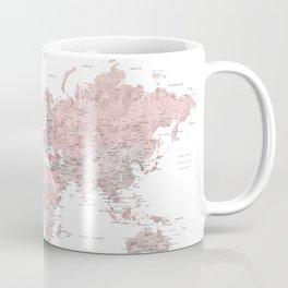 Dusty pink & grey watercolor world map cropped Coffee Mug