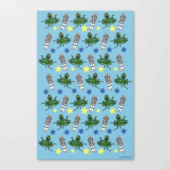 Aliens & Astronauts pattern Canvas Print