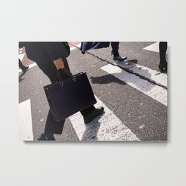 Group of businessmen and women walk along crosswalk in Shinjuku, Tokyo, Japan Metal Print
