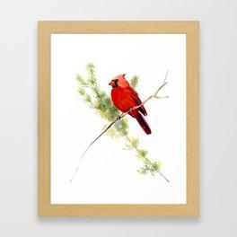 Cardinal Bird, Christmas decor gift Framed Art Print