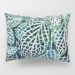 Tropical Leaves Fittonia Nerve Plant #watercolor #decor #society6 #pattern Pillow Sham