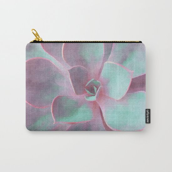 Pastel Succulent Carry-All Pouch