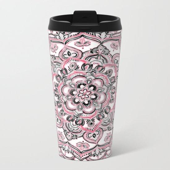 Magical Mandala in Monochrome + Pink Metal Travel Mug