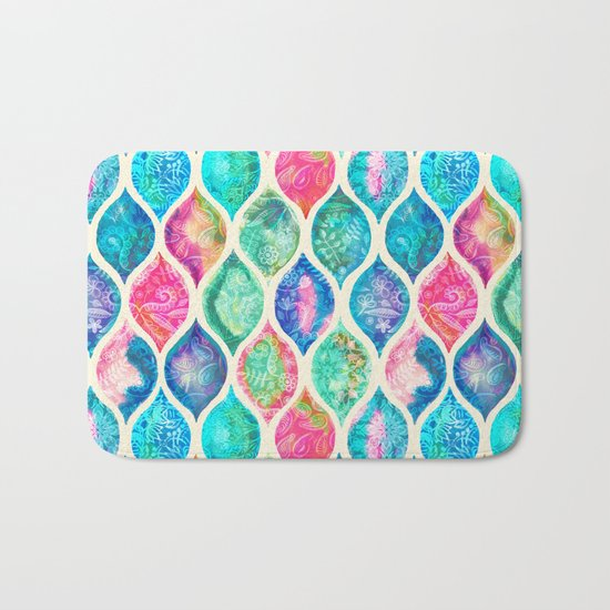 Watercolor Ogee Patchwork Pattern Bath Mat