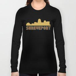 Vintage Style Shreveport Louisiana Skyline Long Sleeve T-shirt
