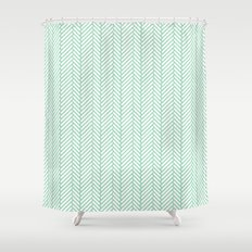 Herringbone Mint Shower Curtain
