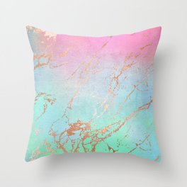 Rainbow Glamour Marble Texture Throw Pillow