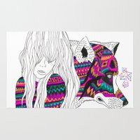 ariana grande Area & Throw Rugs featuring ▲SHE-WOLF▲ by Kris Tate
