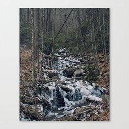Frozen Stream From Mountain High Canvas Print