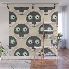 Cute pattern with funny skulls and flowers Wall Mural