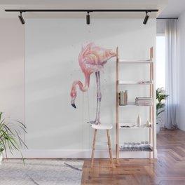 Flamingo Watercolor Painting Pink Tropical Birds Facing Left Wall Mural