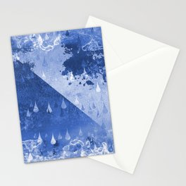 Abstract Blue Rain Drops Design Stationery Cards