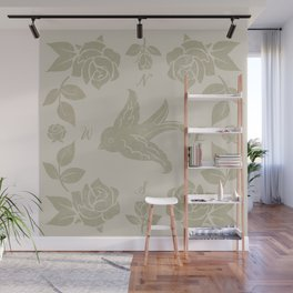 Swallow and Roses Wall Mural