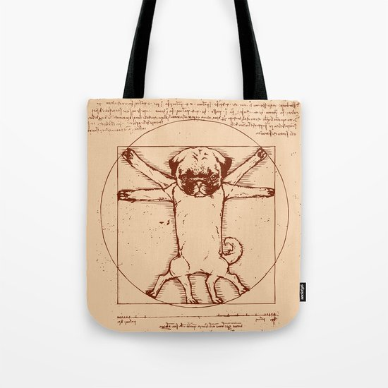 Vitruvian pug Tote Bag